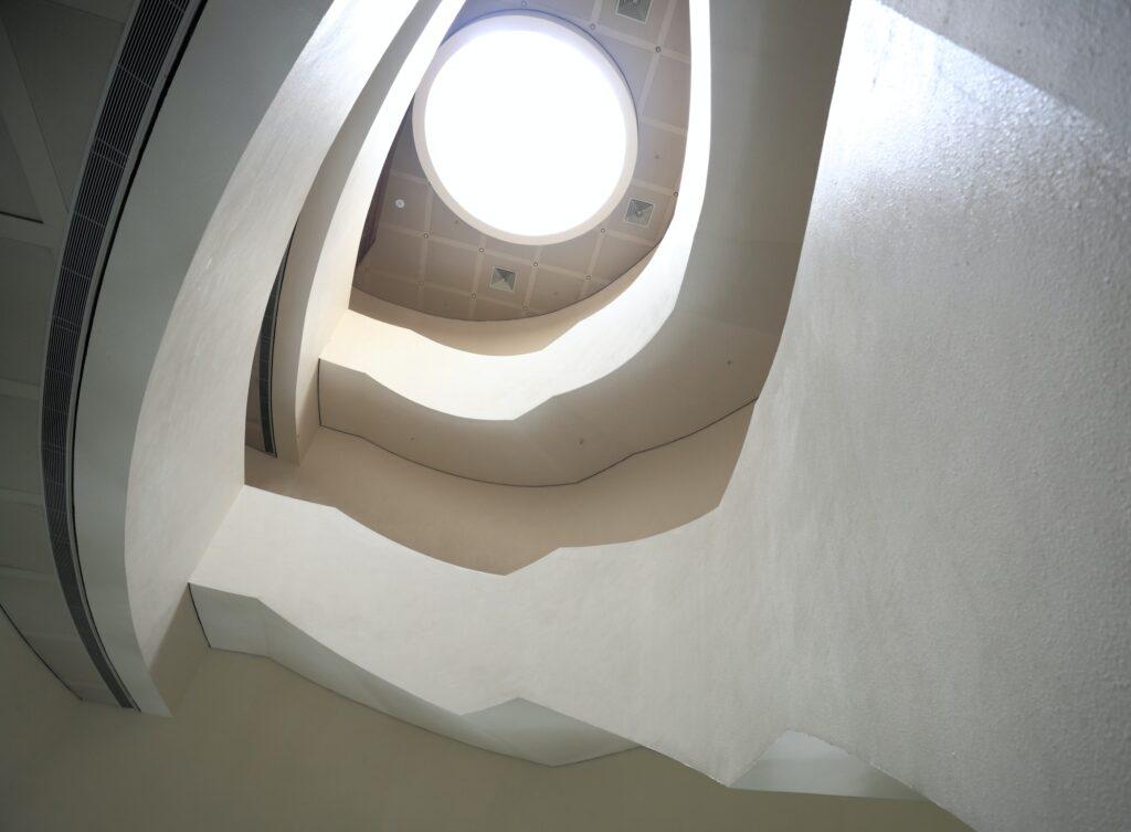 spiraling stairs in art museum